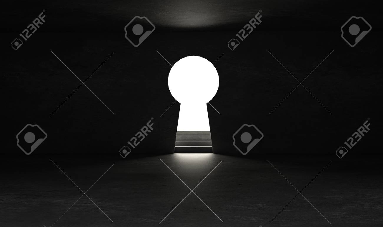 Key hole on black wall with light and shiny glow effect - 102794507