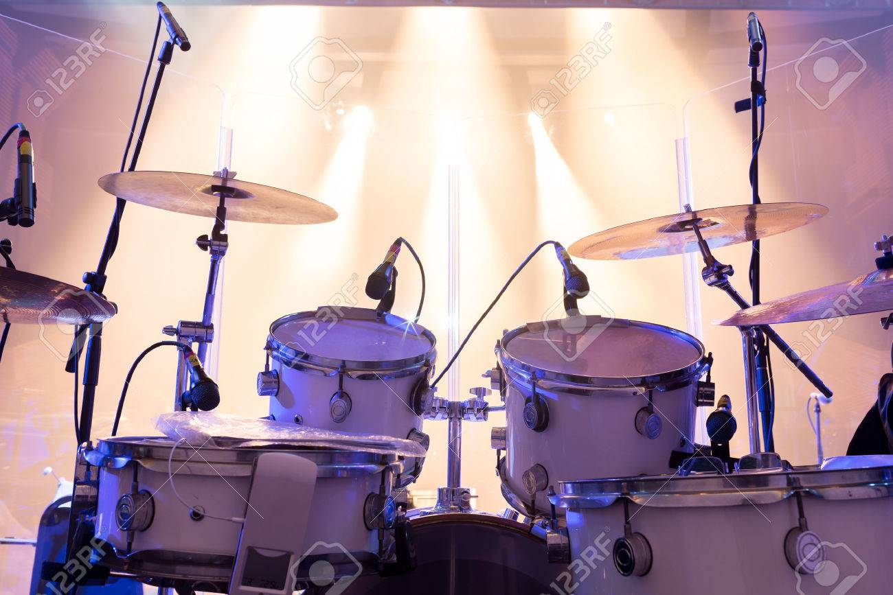 Drum Set On Stage Stage Lighting Stock Photo Picture And Royalty
