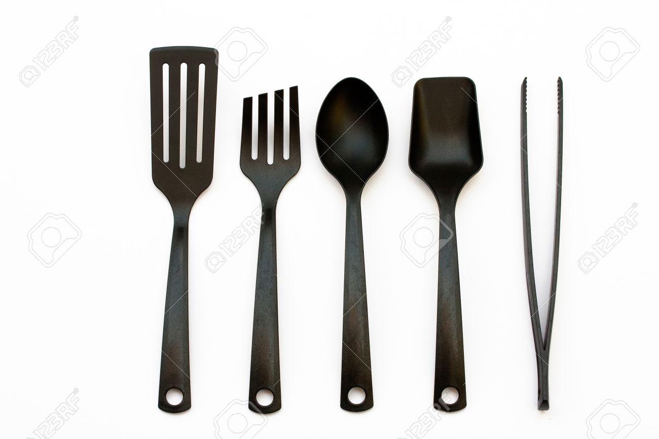 utensili da cucina in plastica e spatola e mestoli foto royalty ... - Spatola Cucina