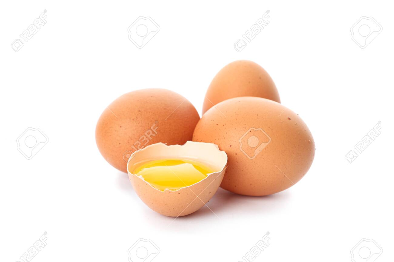 Chicken eggs and half broken egg with yolk isolated on white background - 124405778