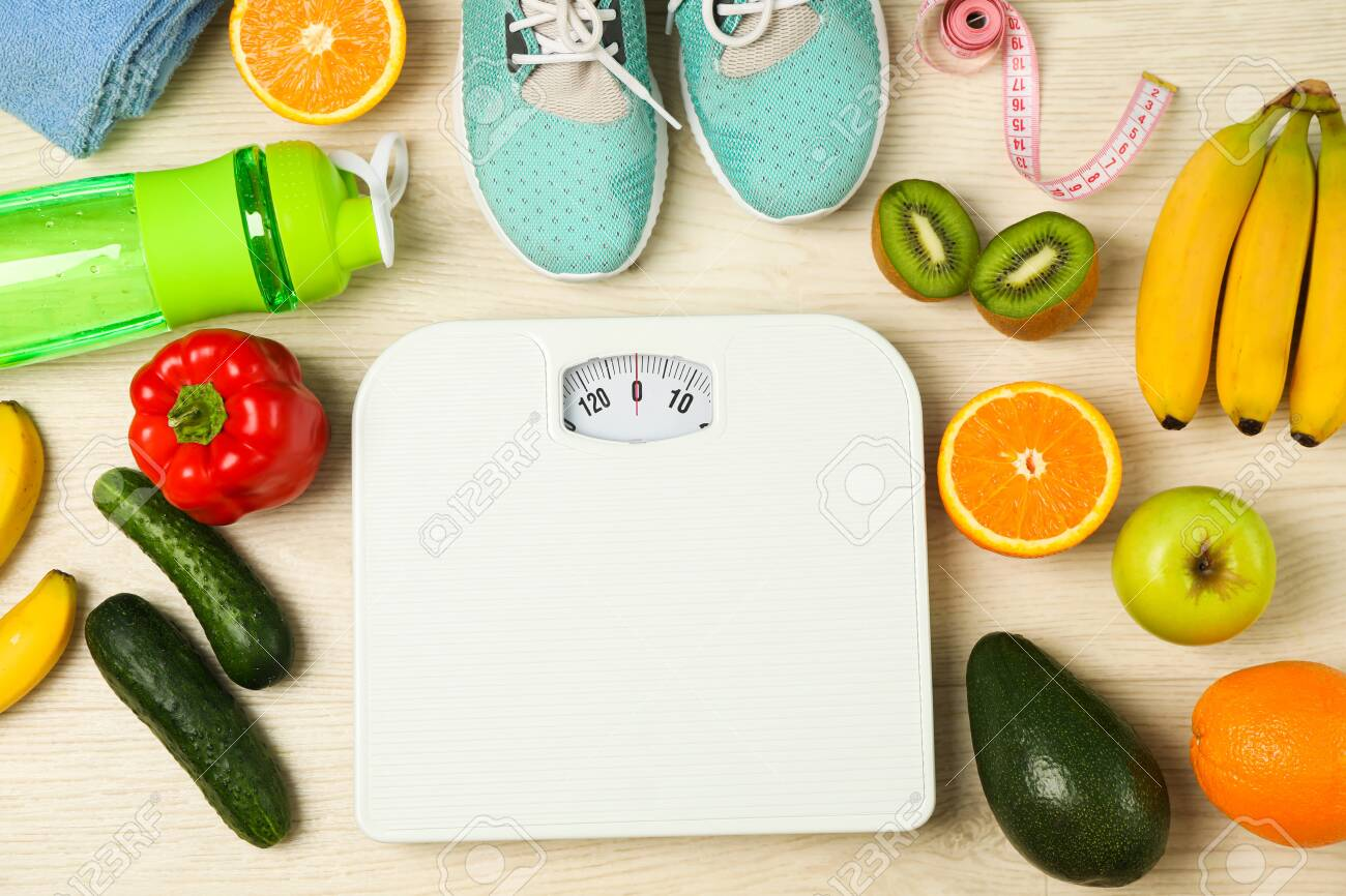 Healthy lifestyle accessories on white background, top view - 128744224