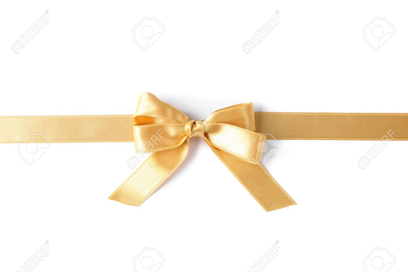Golden ribbon with bow isolated on white background. Gift concept - 128746529
