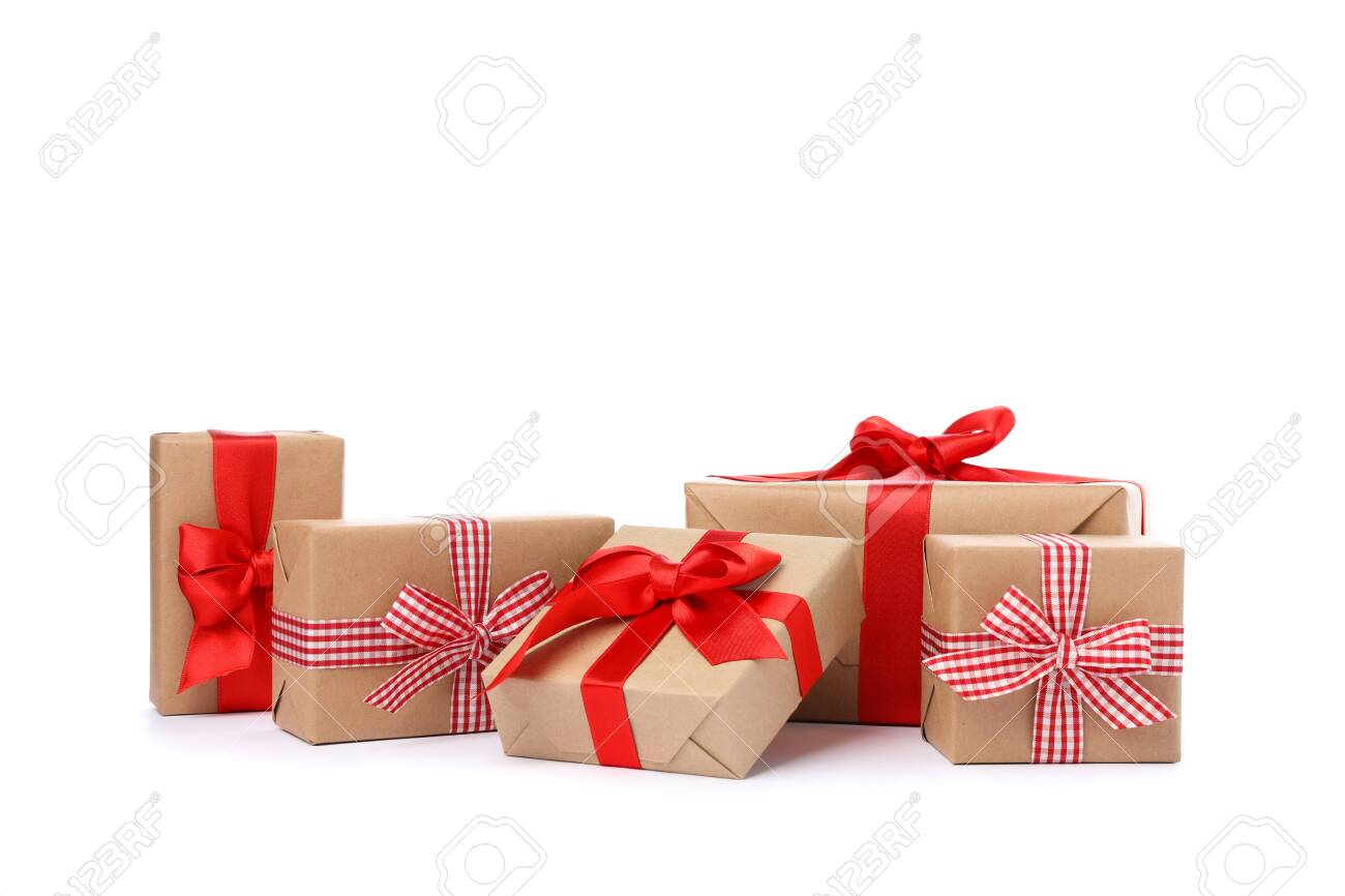 Group of beautiful gift boxes isolated on white background - 131465014