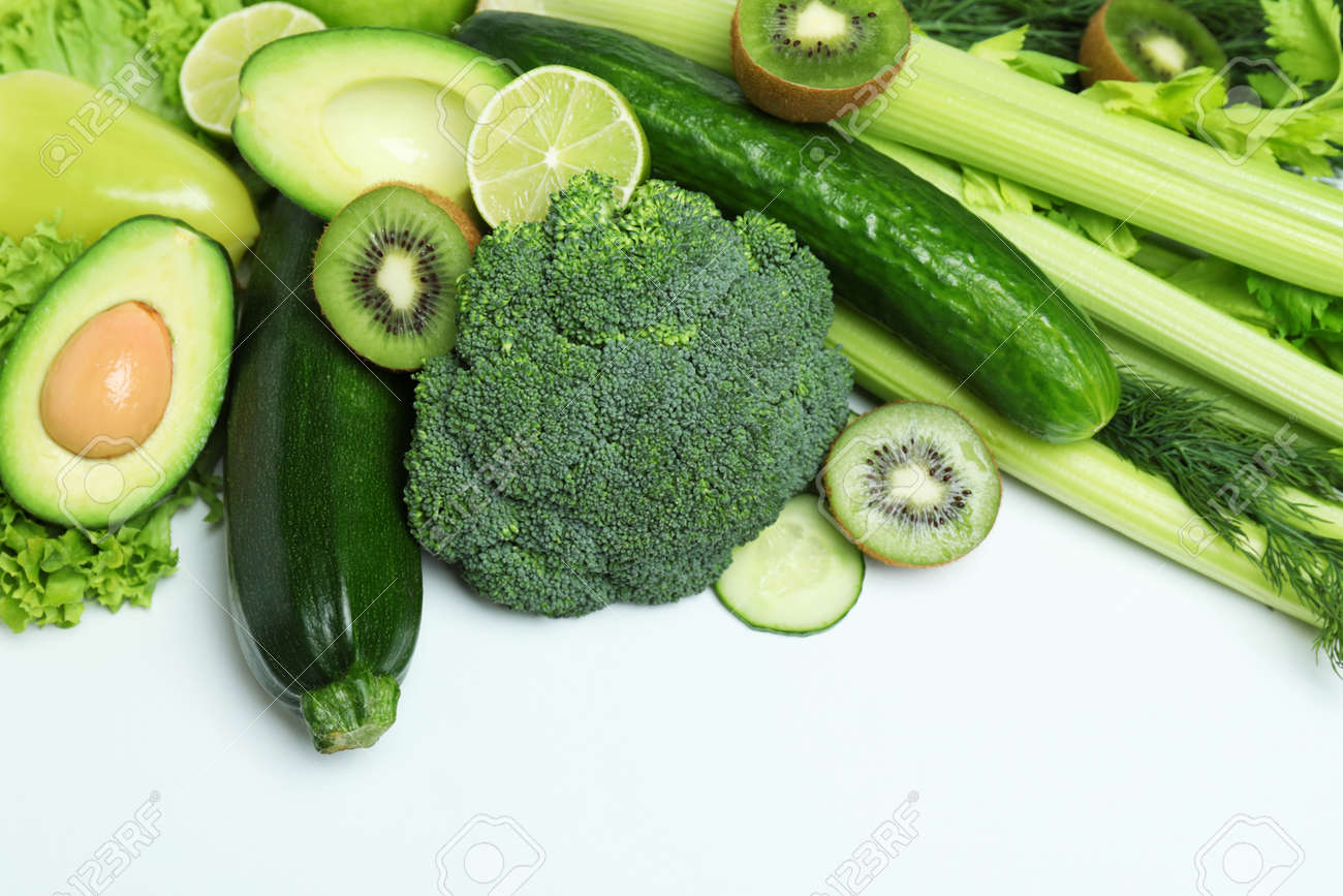 Fresh green vegetables on white background, space for text - 167810386