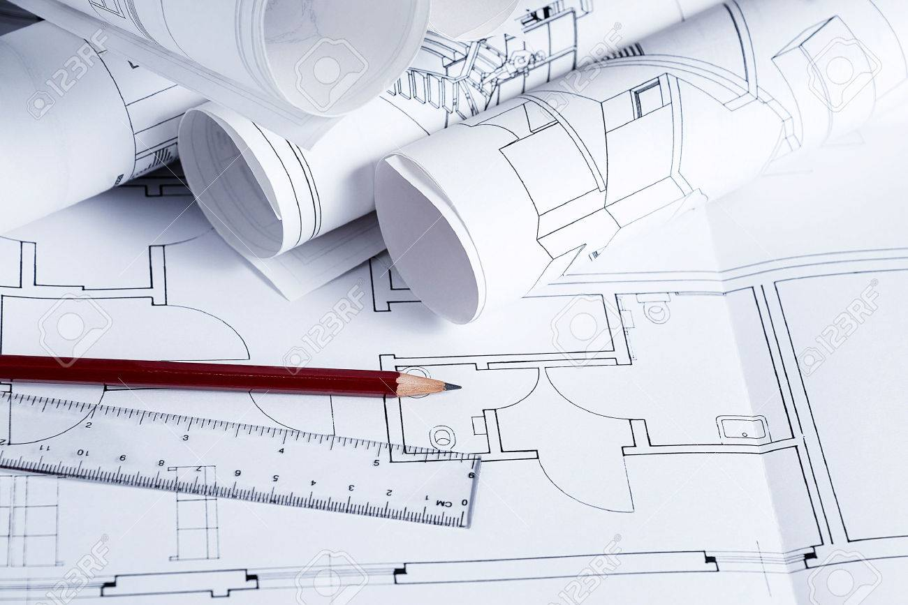 Architecture Blueprints With Pencil And Ruler Stock Photo Picture