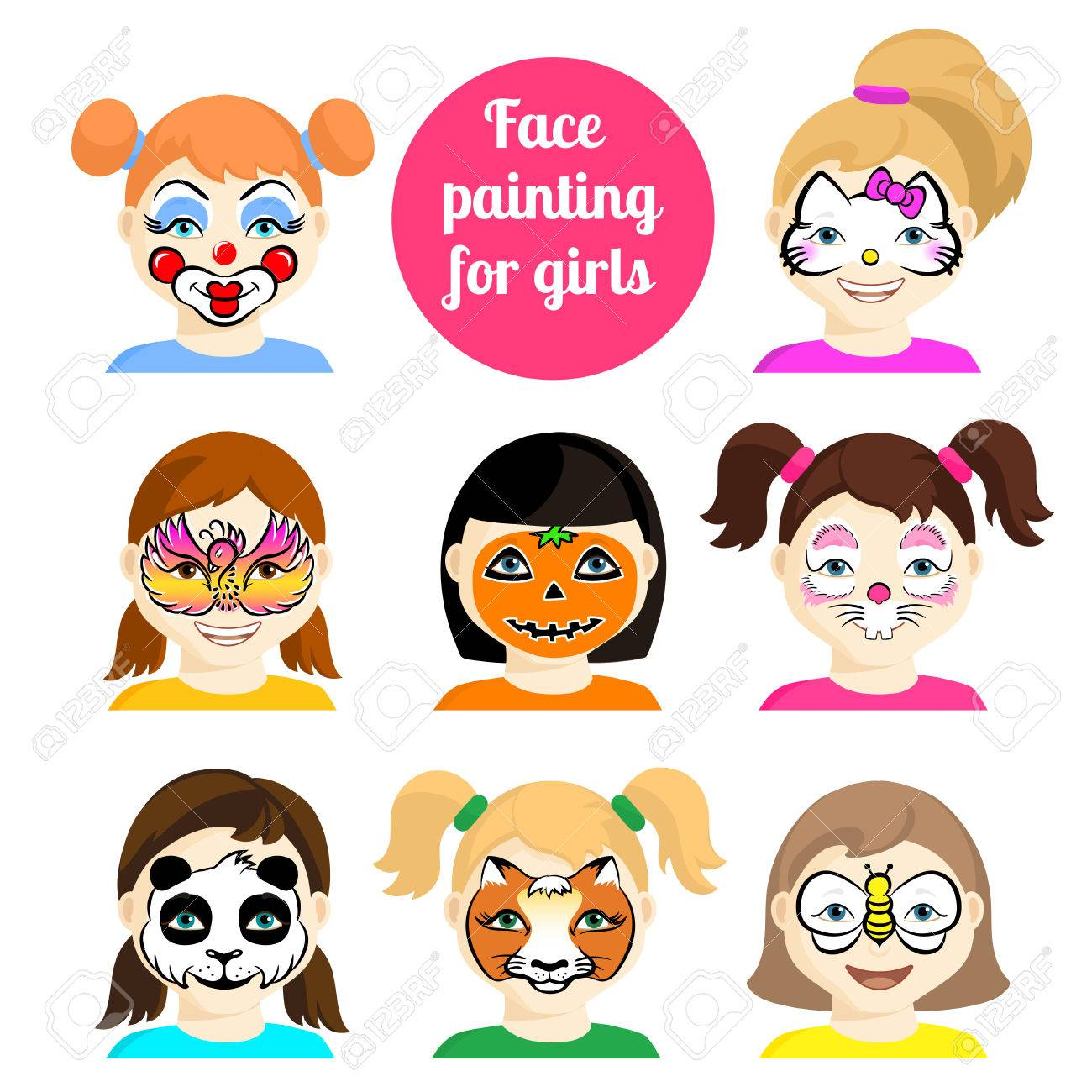 face painting icons kids faces with animals painting vector illustration set of face - Cartoon Painting For Kids