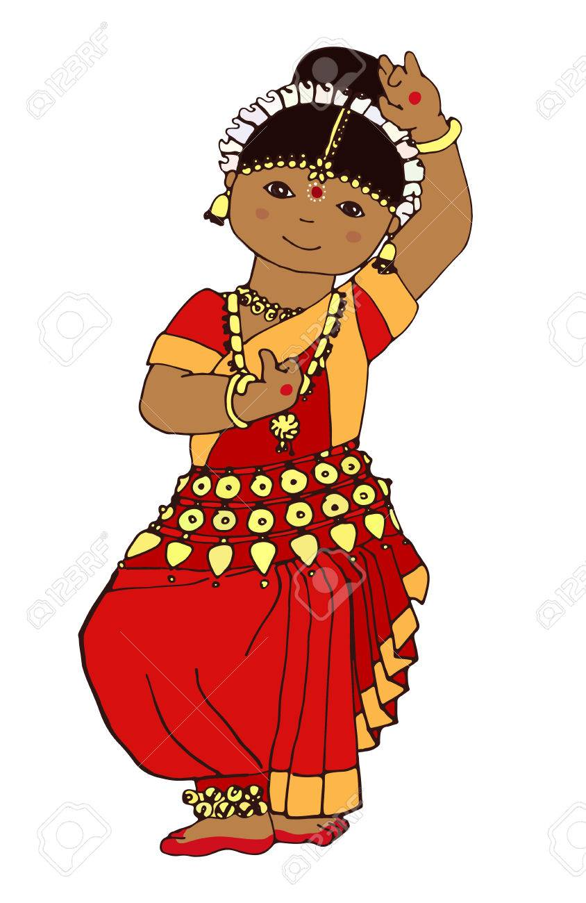 Hand Drawn Dancing Indian Girl Illustration Of A Girl Dancing Royalty Free Cliparts Vectors And Stock Illustration Image 81474566