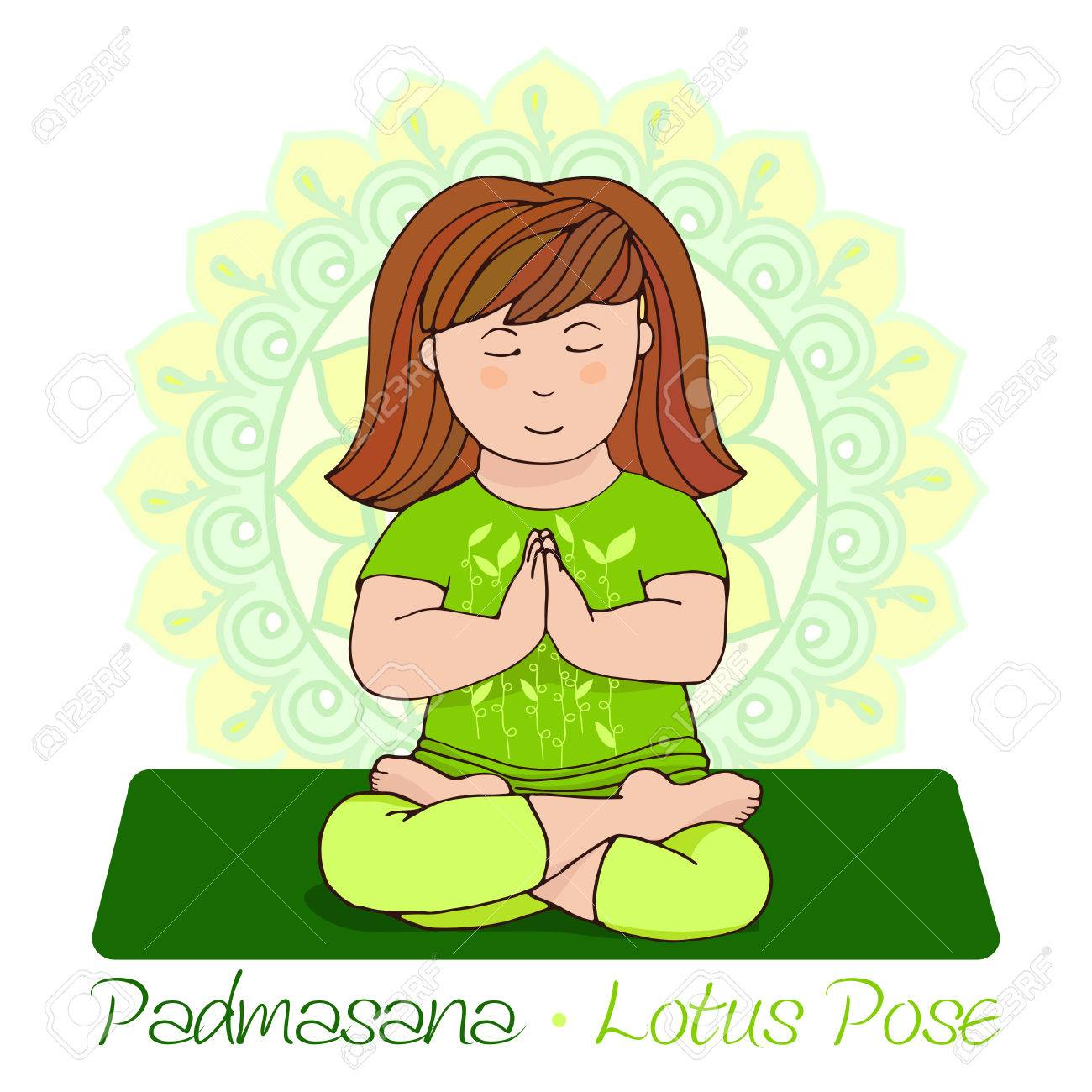 Girl In Padmasana With Mandala Background Hand Draw Illustration For Yoga Kids