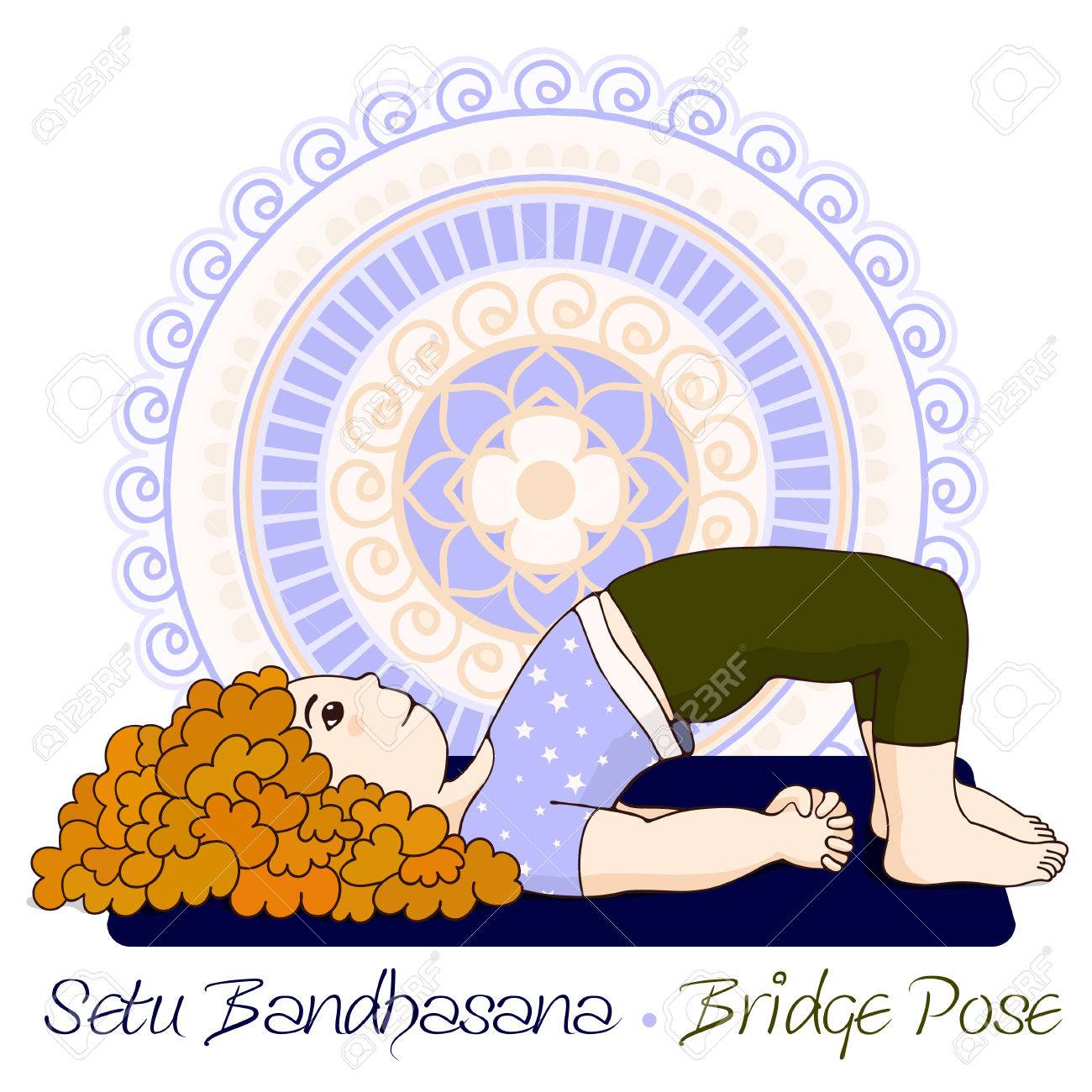 Cartoon girl in bridge pose with mandala background hand draw cartoon girl in bridge pose with mandala background hand draw illustration for yoga kids sciox Gallery