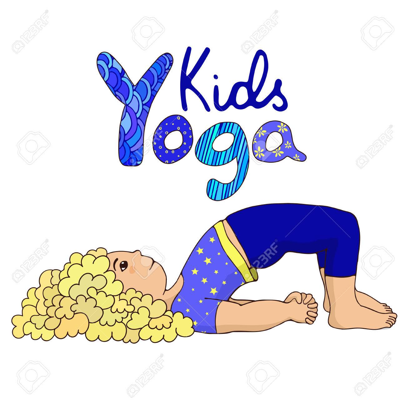 Little Girl Doing Yoga Hand Draw With Logo Kids