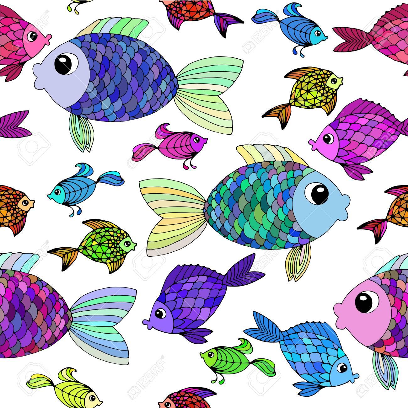 Cartoon Fish Background Stylized Hand Drawn Fish Wallpaper