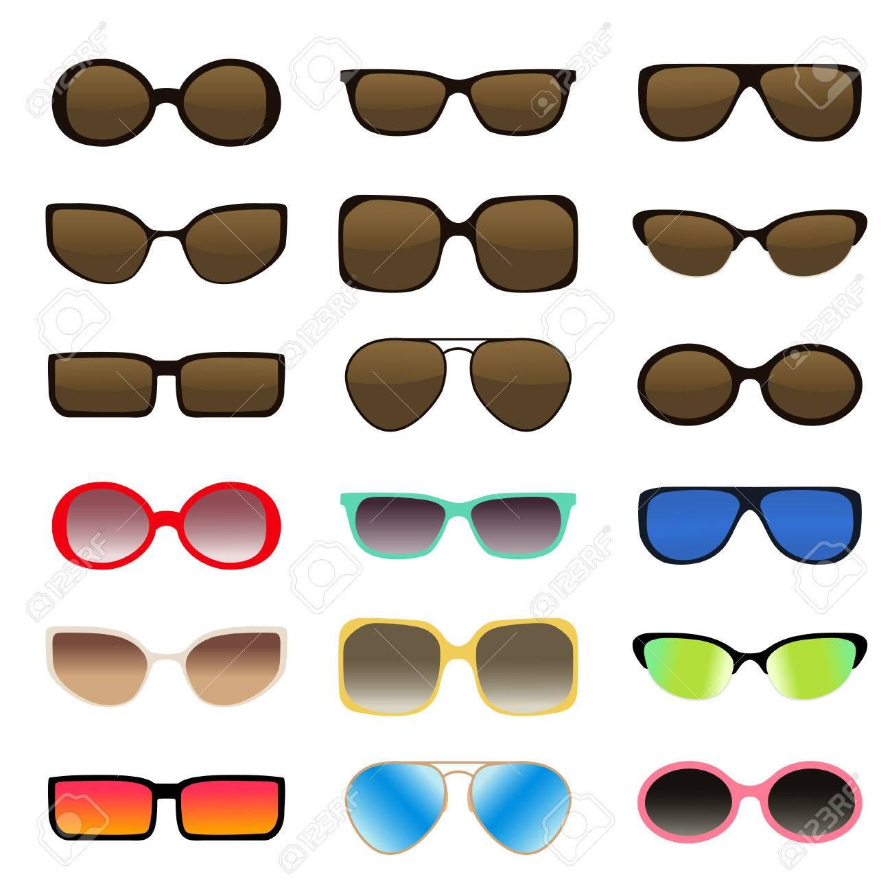 Gafas De Sol Conjunto - Multicolores, Aislados - Ilustración ...