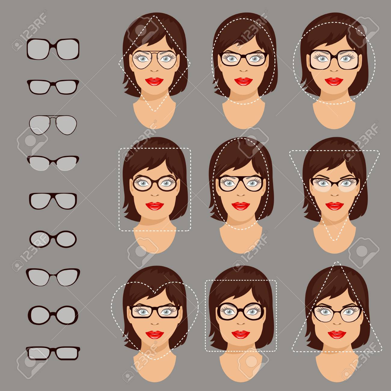 239b6b67df Stock vector illustration of glasses shapes for different womens face types  - square