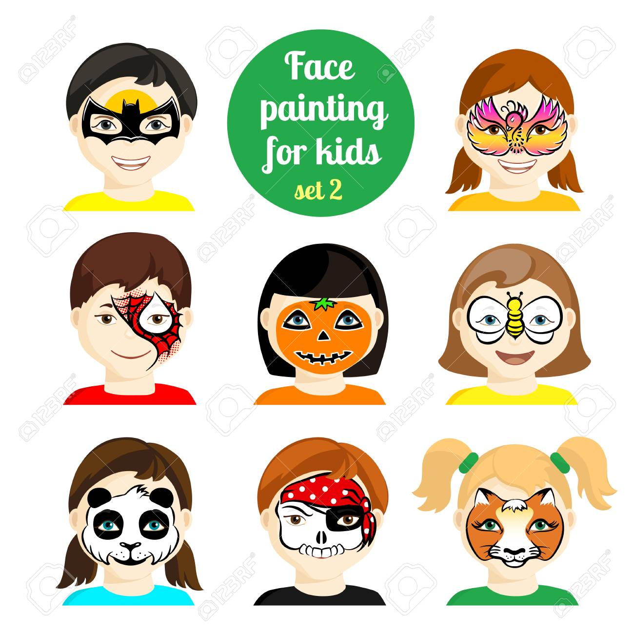 Face Painting Icons. Kids Faces With Animals Painting. Vector ...