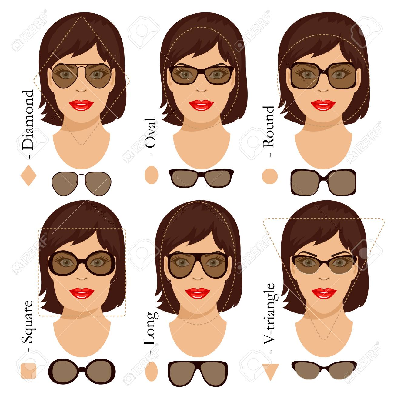 aec67ce2aef Stock vector illustration of sunglasses shapes for different womens face  types - square