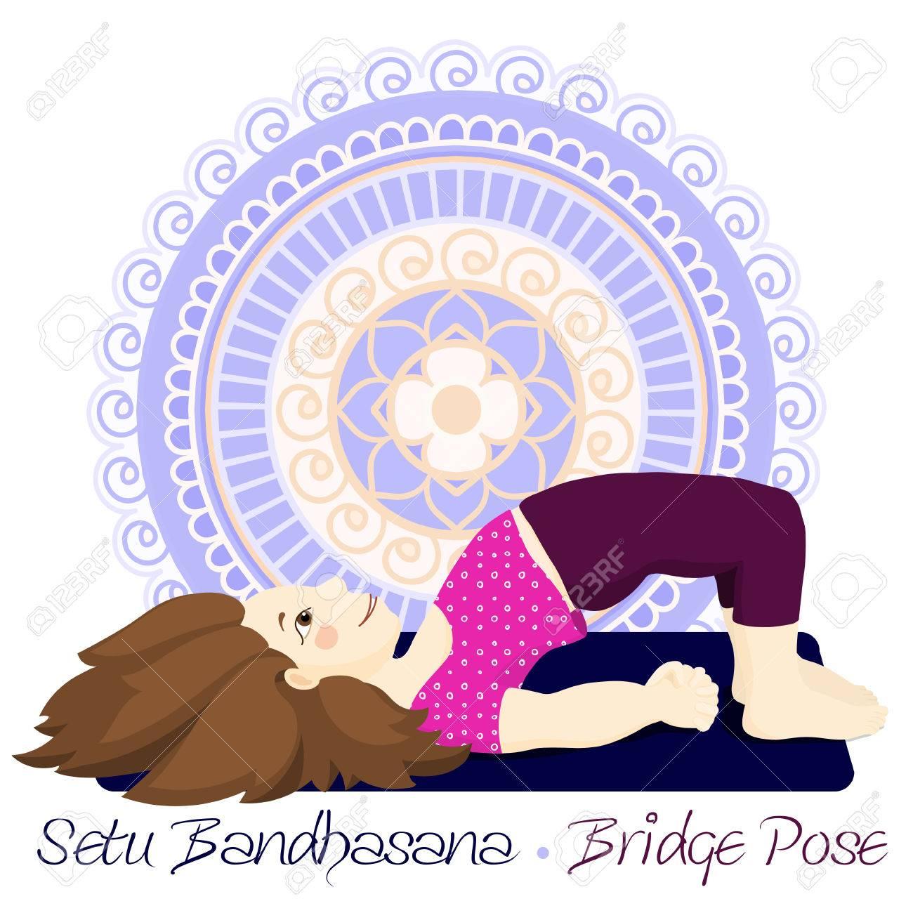 Cartoon Girl In Bridge Pose With Mandala Background Hand Draw