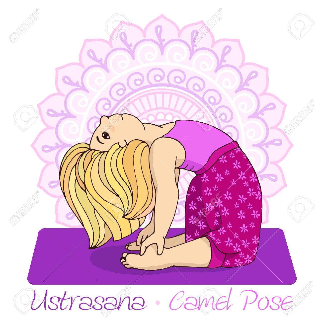 Cartoon girl in camel pose with mandala background hand draw cartoon girl in camel pose with mandala background hand draw illustration for yoga kids sciox Gallery