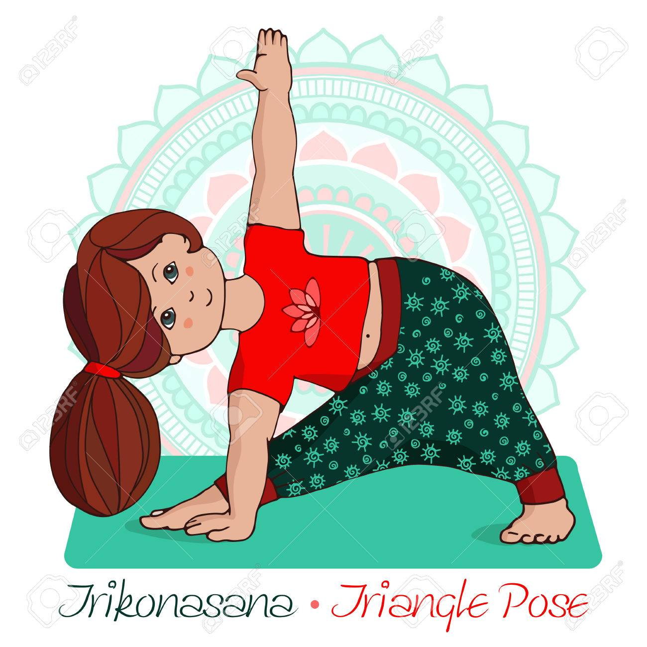 Cartoon girl in triangle pose with mandala background hand draw cartoon girl in triangle pose with mandala background hand draw illustration for yoga kids sciox Gallery