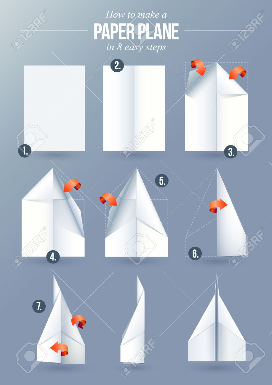 Instructions how to make a origami paper plane in 8 easy steps instructions how to make a origami paper plane in 8 easy steps stock vector 33269521 jeuxipadfo Images