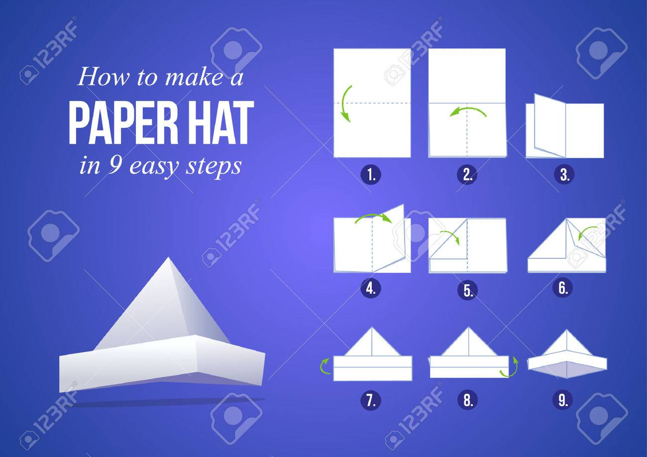 instructions how to make a paper hat in 9 steps with purple background diy do it