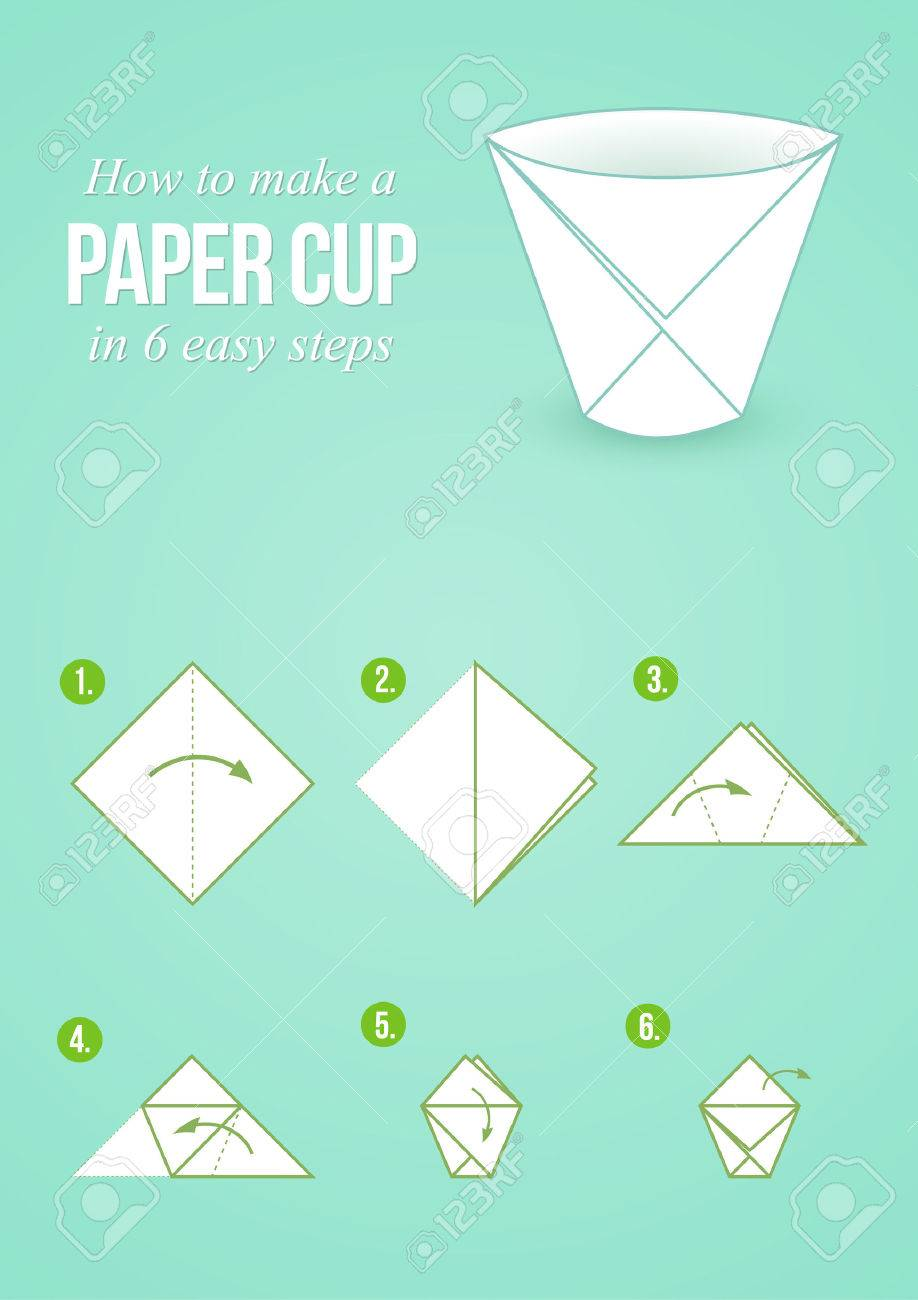 Tutorial how to create origami paper cup in few simple steps tutorial how to create origami paper cup in few simple steps stock vector 47561636 jeuxipadfo Images