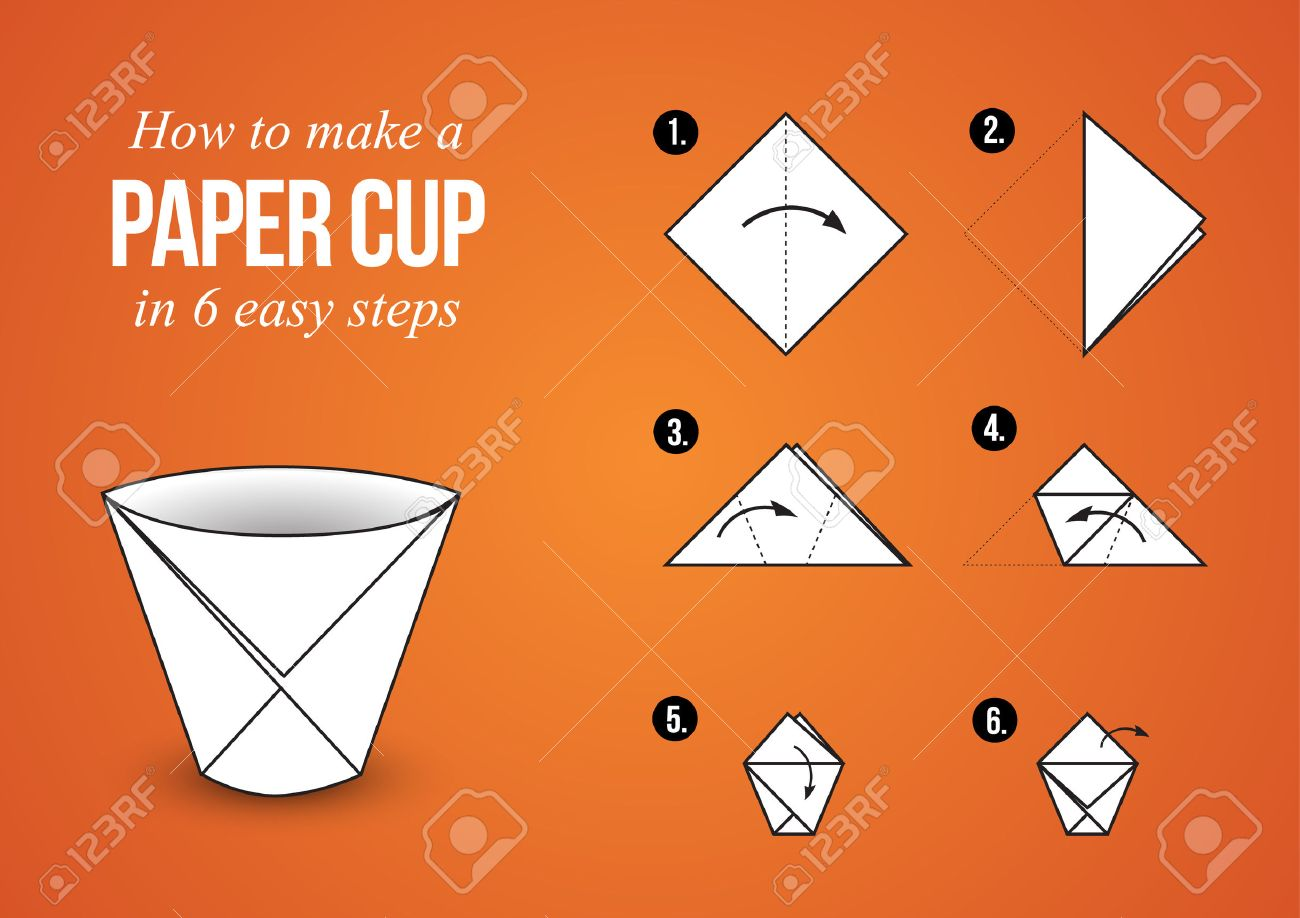 Tutorial how to create origami paper cup in few simple steps tutorial how to create origami paper cup in few simple steps stock vector 47561640 jeuxipadfo Gallery