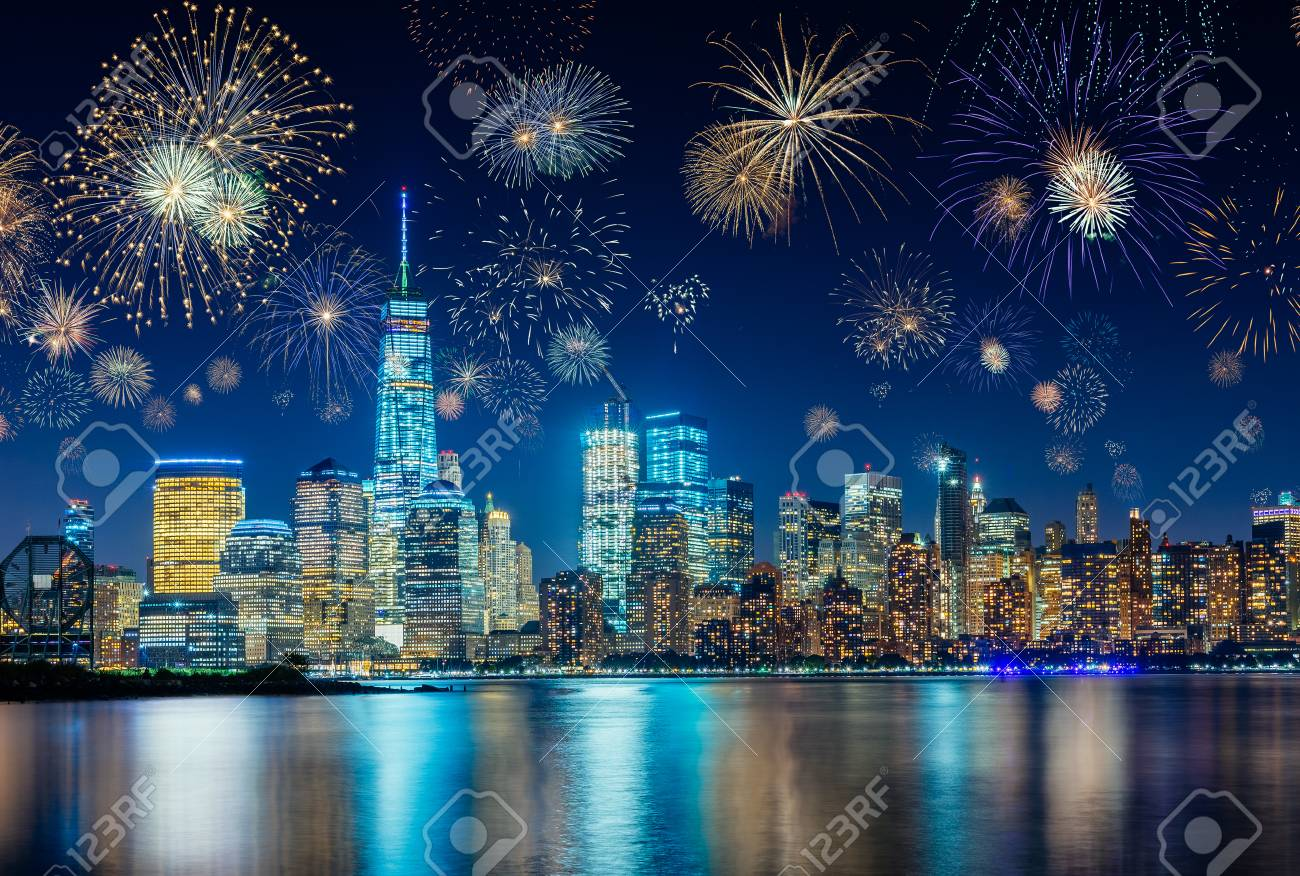 Fireworks During New Years Eve with New York City Cityscape, USA - 89126515