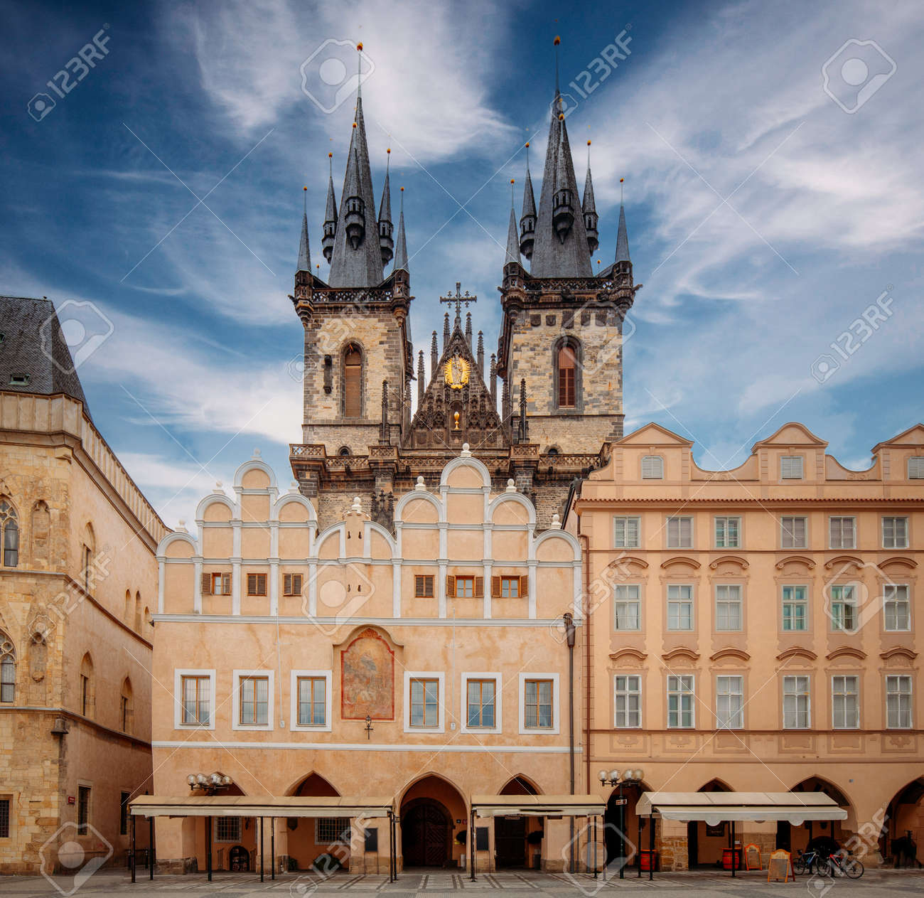 Church of Our Lady before Týn, Prague, Czech Republic, Europe, during sunny day with blue sky - 161619256