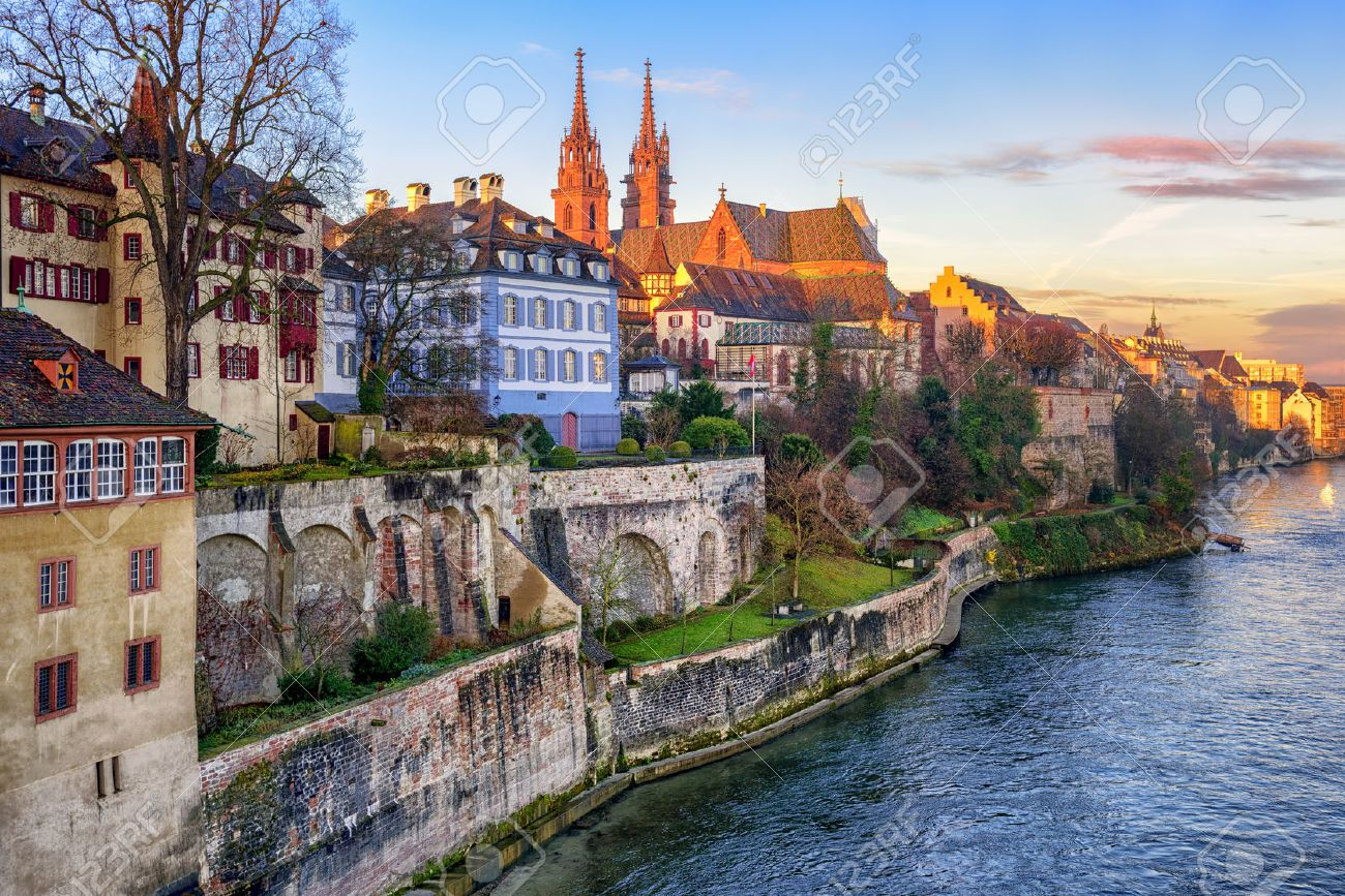 Old town of Basel with red stone Munster cathedral on the Rhine river, Switzerland - 52851055