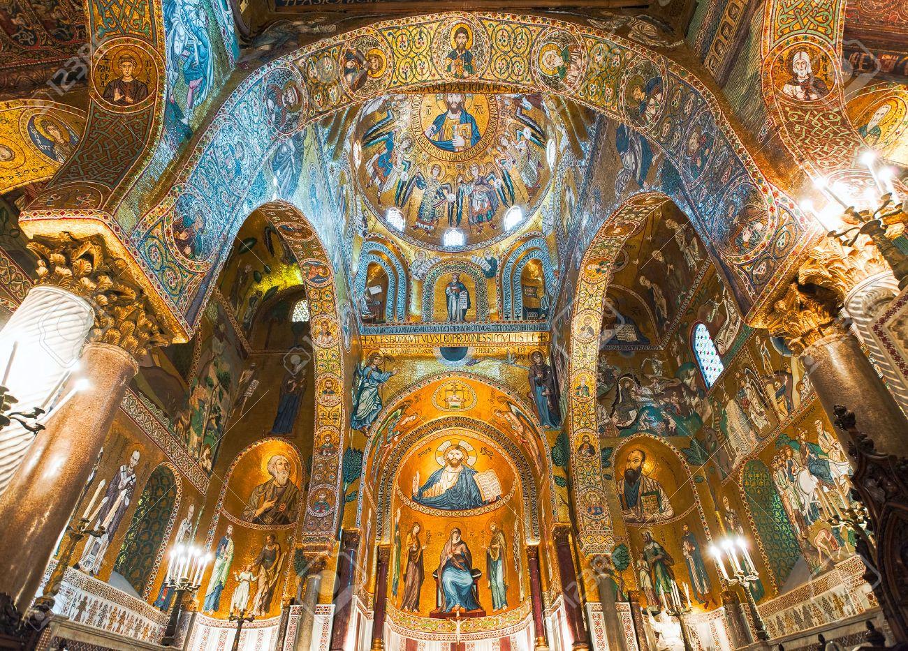 Golden mosaics in La Martorana catholic church in Palermo, Italy - 59322510