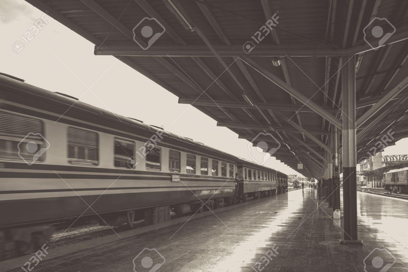 Perspective Of Train Diesel Locomotive While It Moving On Bangkok Railway Station Platform Thailand