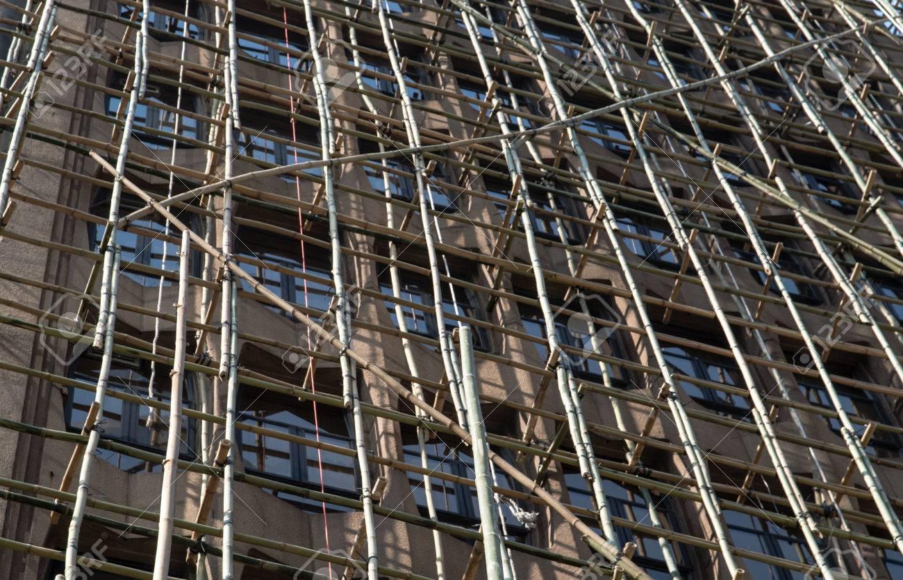 Hong Kong Gerust Mit Bambus Auf Einem Alten Wohnhaus Lizenzfreie