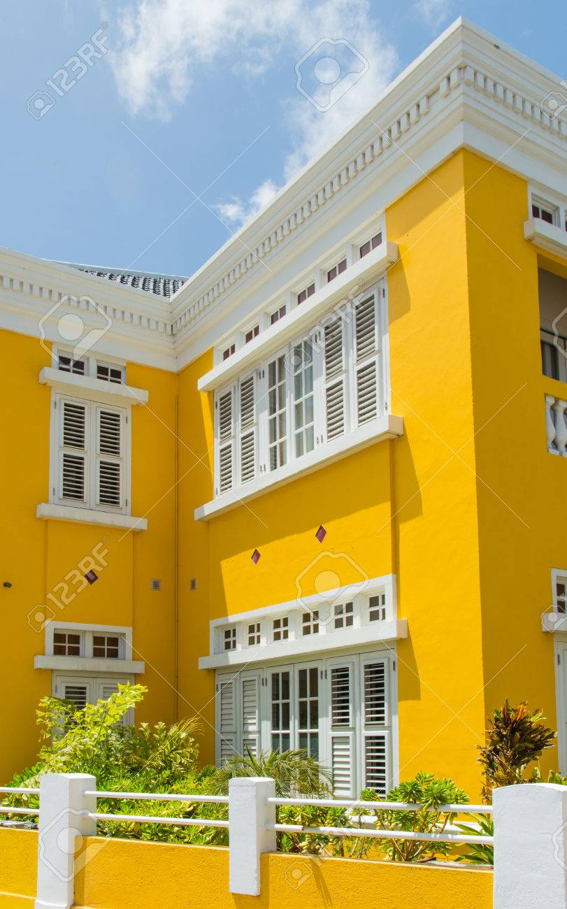 Facade Of A Colonial House In Willemstad The Capital Curacao Caribbean
