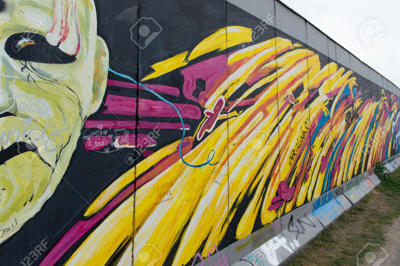 Berlin, Germany, August 30 , 2014: Part Of Berlin Wall On ...