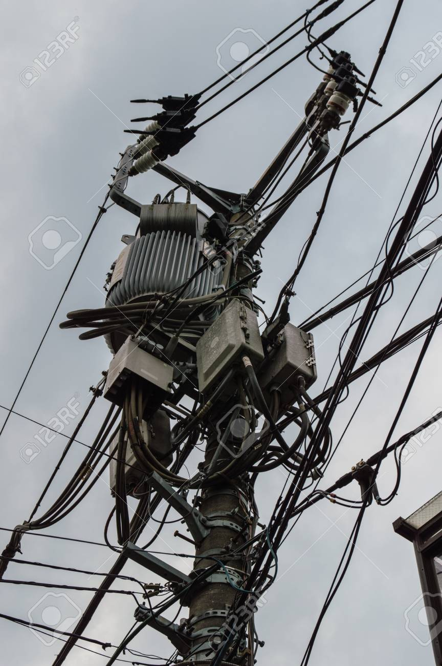 Messy Electric Cables In Japan Stock Photo Picture And Royalty Free Wiring 32009266