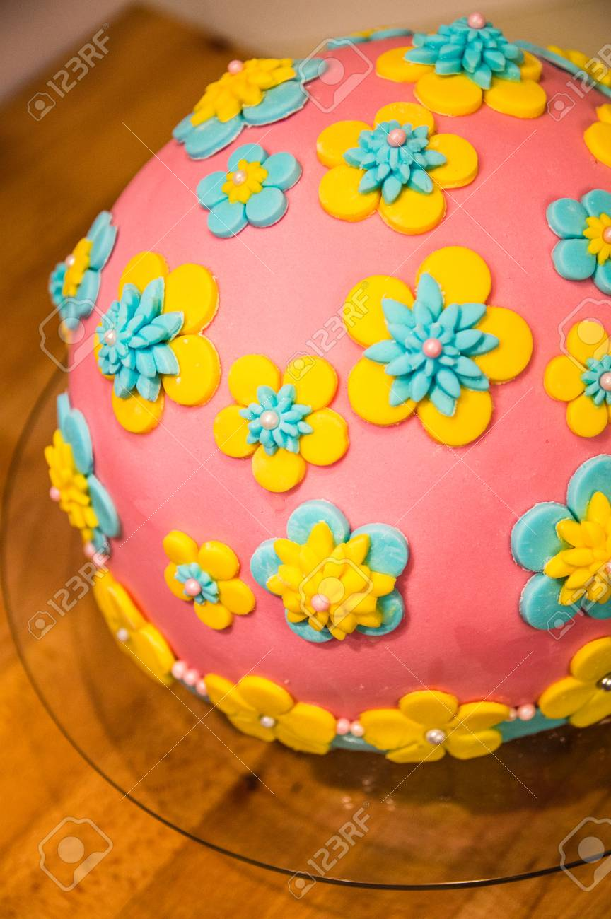 Homemade Birthday Cake With Flowers Made Of Icing Suger Stock Photo