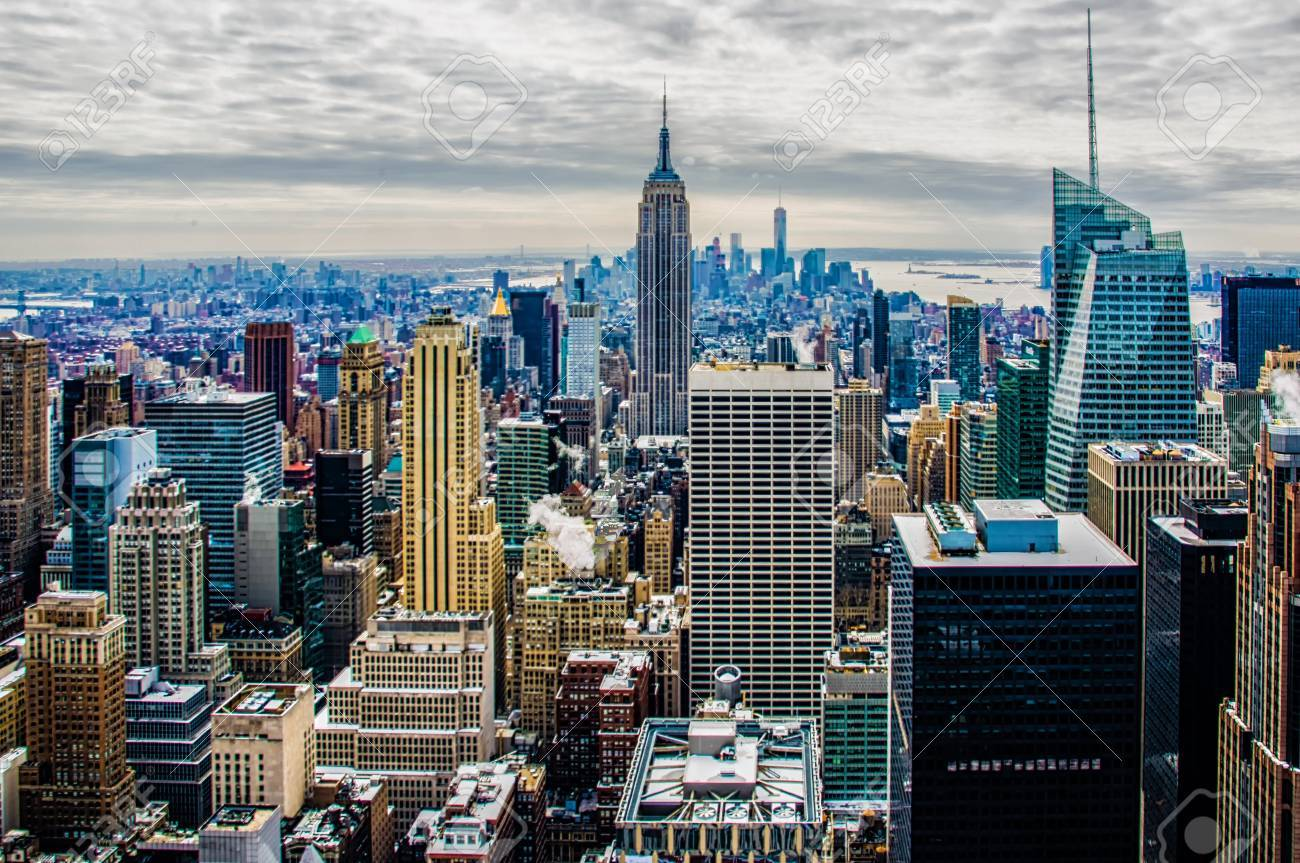 aerial view of new york city and empire state building stock photo