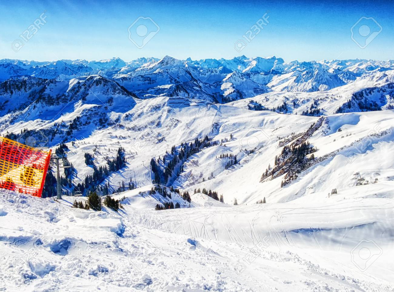mountain ski resort damuls austria stock photo, picture and royalty