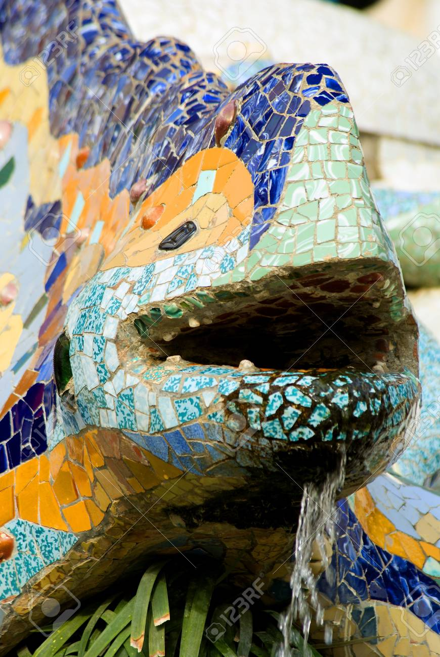 BARCELONA, SPAIN -  The famous Park Guell   in Barcelona, Spain  Park Guell is the famous park designed by Antoni Gaudi and built in the years 1900 to 1914 Stock Photo - 17377894