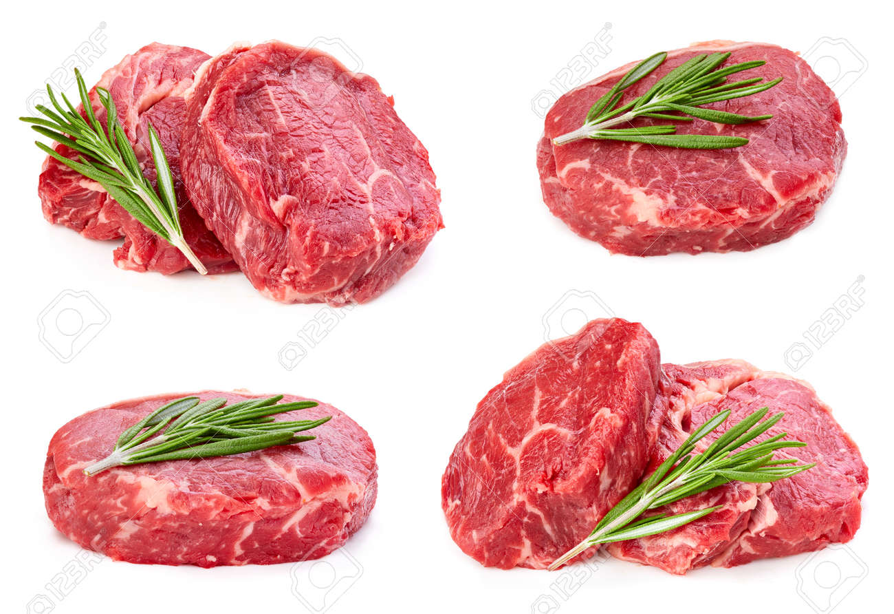 Beef steak with leaf rosemary isolated on white - 146591700