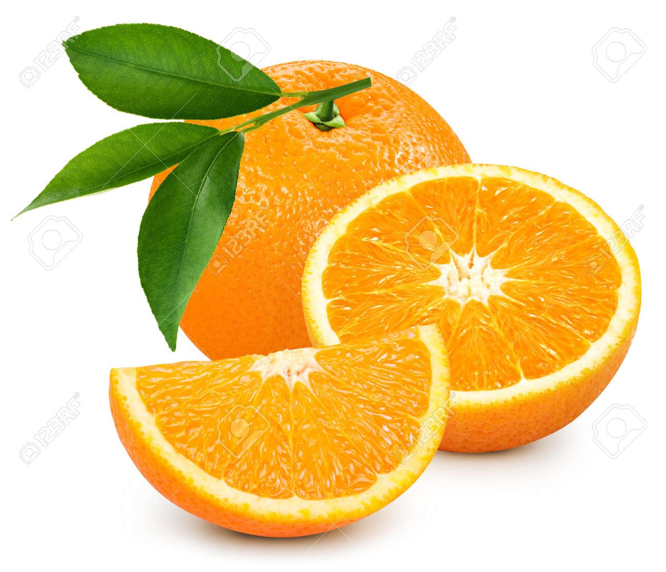 Organic orange isolated on white background.Taste orange with leaf. - 148843234