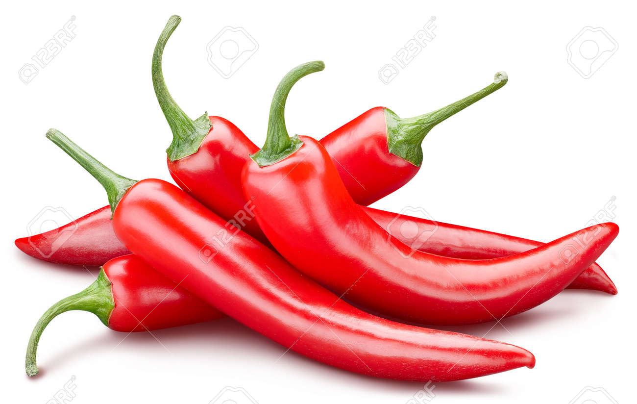 Fresh red peppers isolated on white background. Red hot natural chili pepper clipping path. Fresh organic fruit. Full depth of field - 151512150