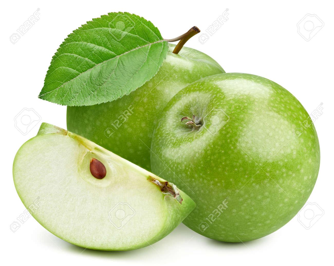 Fresh organic green apple isolated on white background. - 158338498