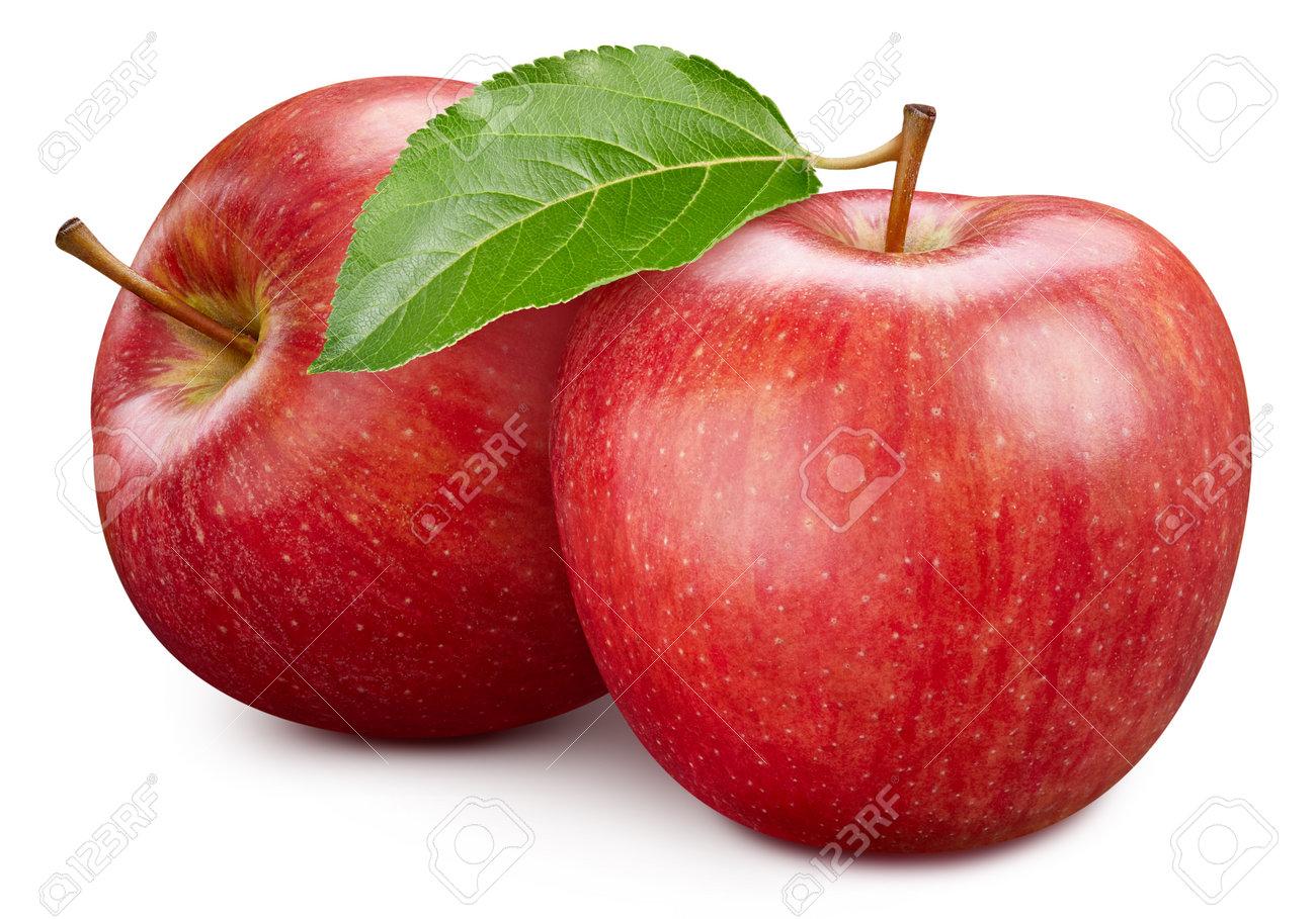 Ripe apple fruit with apple leaf on white background. - 167799160