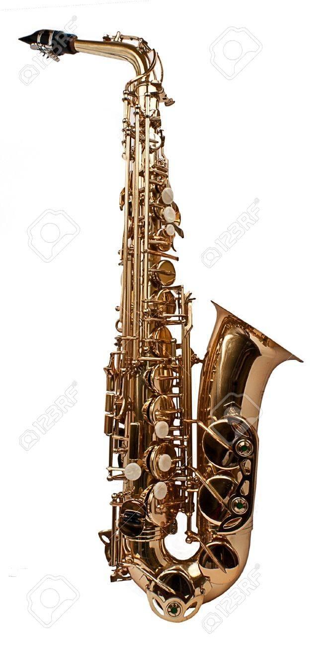 Full saxaphone on the white background Stock Photo - 11915219
