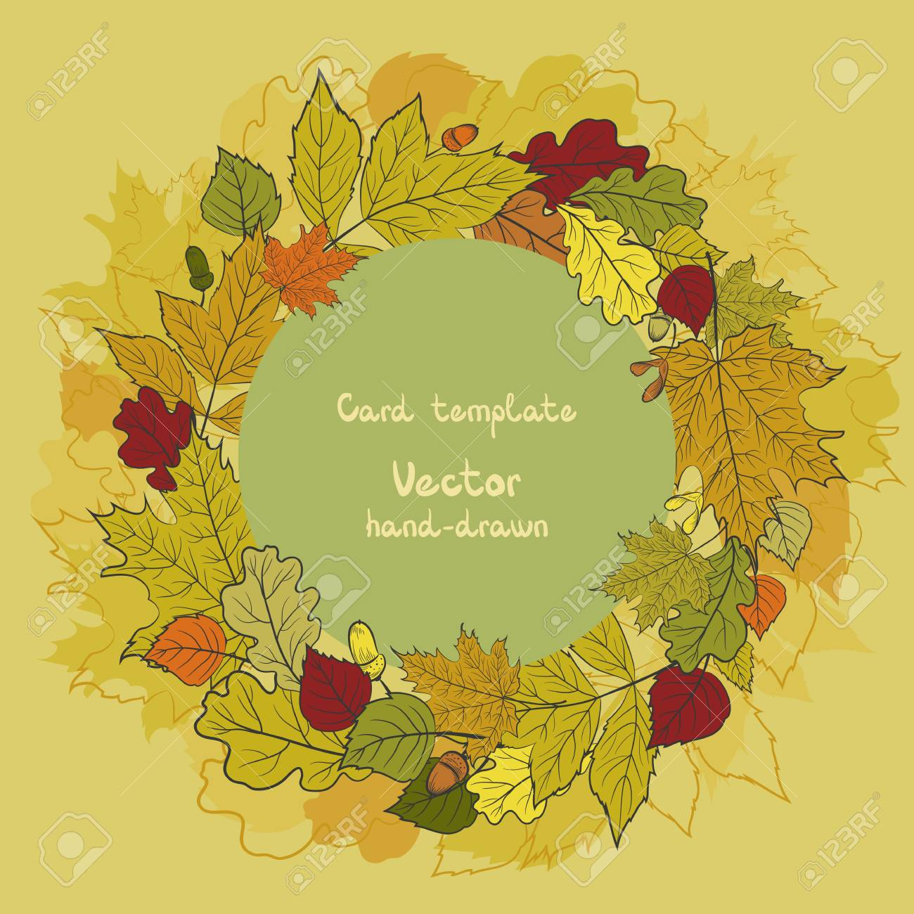 round vector card template with colorful autumn leaves and