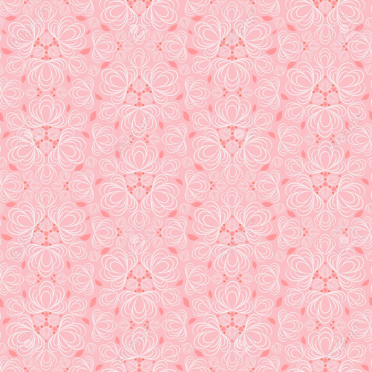 Seamless Vector Floral Pattern With Abstract Flowers In Monochrome Baby Pink Colors Vintage Background In Baroque Style For Fabric Wrapping Or