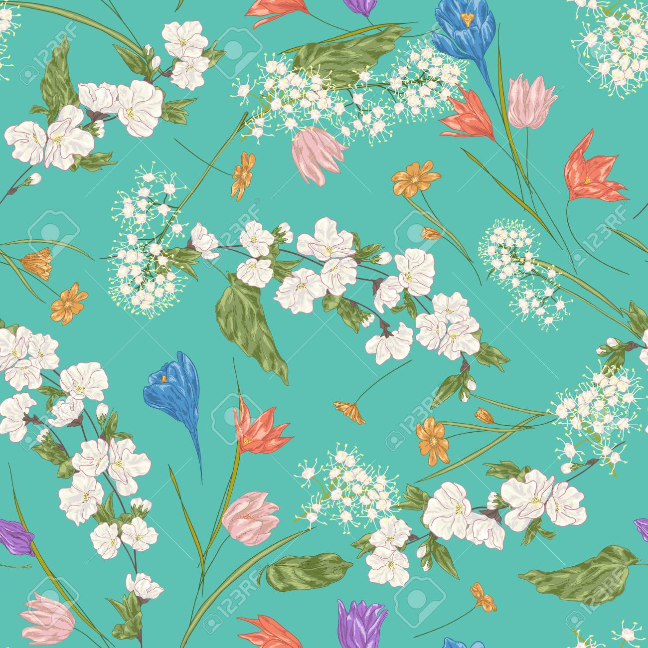 Seamless Vector Floral Pattern Abstract Spring Flowers And Tree