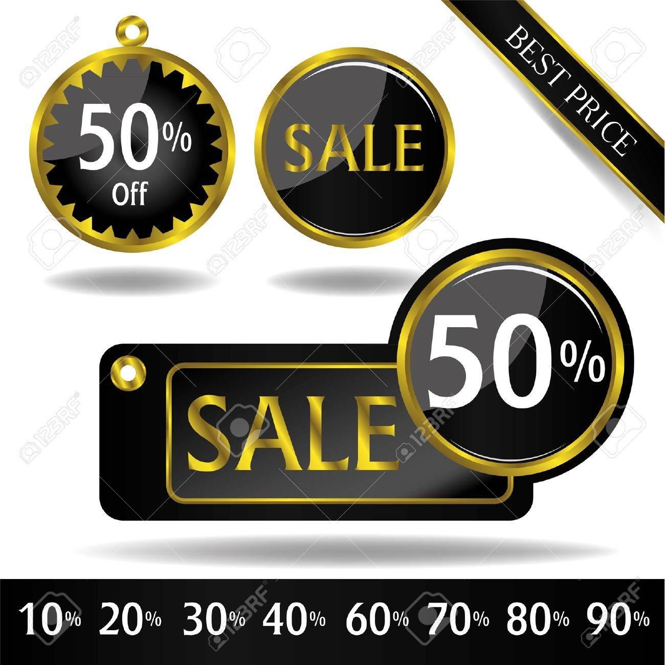 black gold price tag vector Stock Vector - 16297394