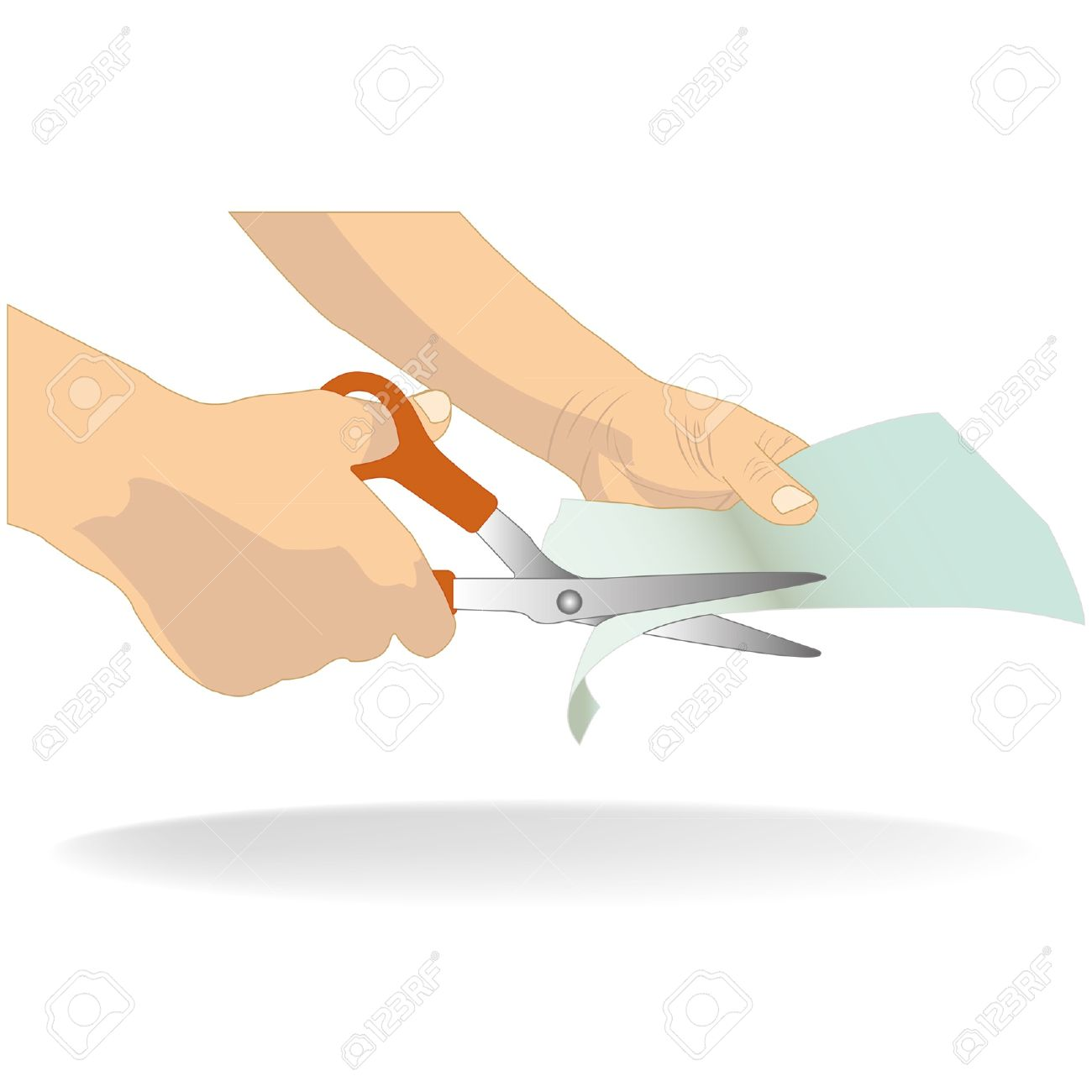 hand holding scissors cutting white paper Stock Vector - 17711040